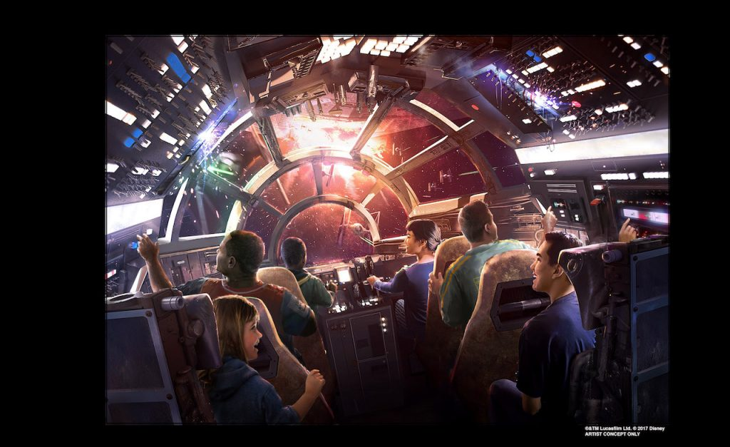 A Drawing of people riding in the new Millennium Faclon ride in Star Wars: Galaxy's Edge the new Star Wars Land at Disneyland and Walt Disney World.