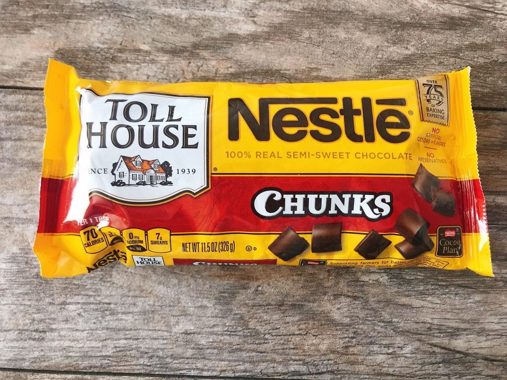A bag of Nestle Toll House Chocolate Chunks.