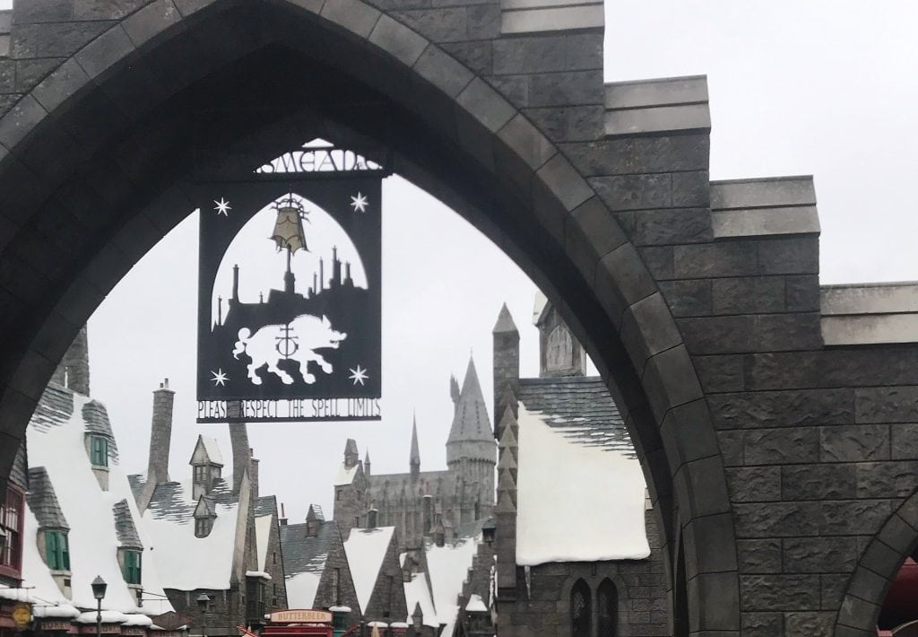 The archway to the Wizarding World of Harry Potter at Universal Studios Hollywood.