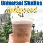 """Text, """"10 Best Things for Kids at Universal Studios Hollywood"""" over a picture of Frozen Butterbeer at the Wizarding World of Harry Potter."""