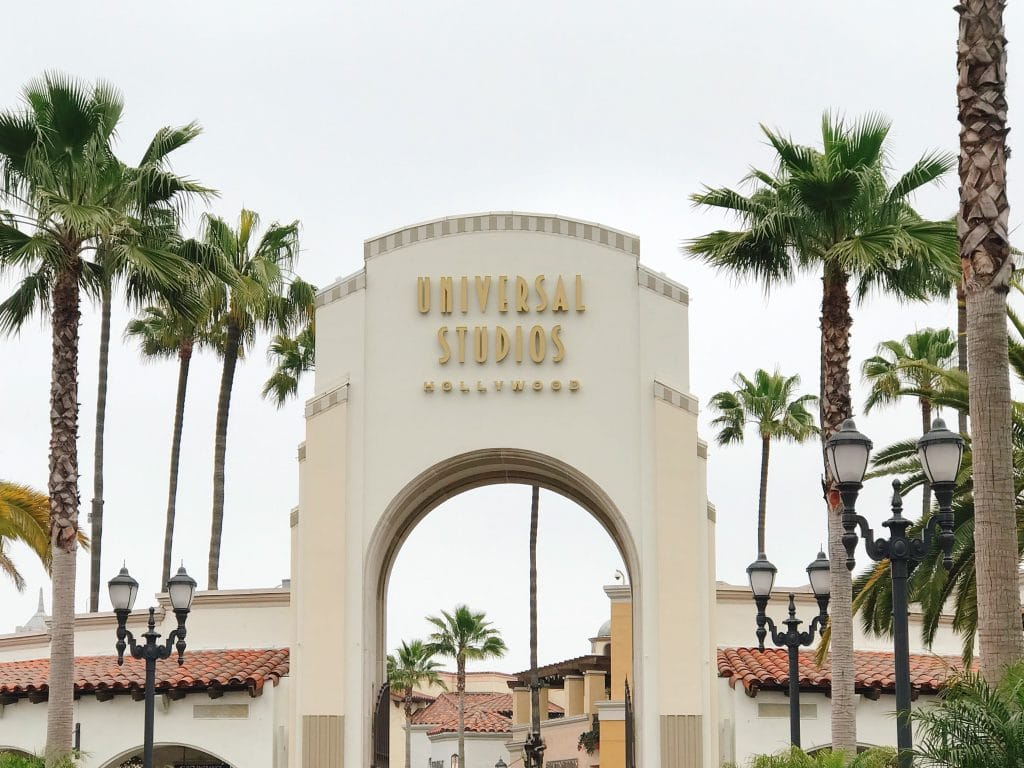 The entrance gate to Universal Studios Hollywood theme park.