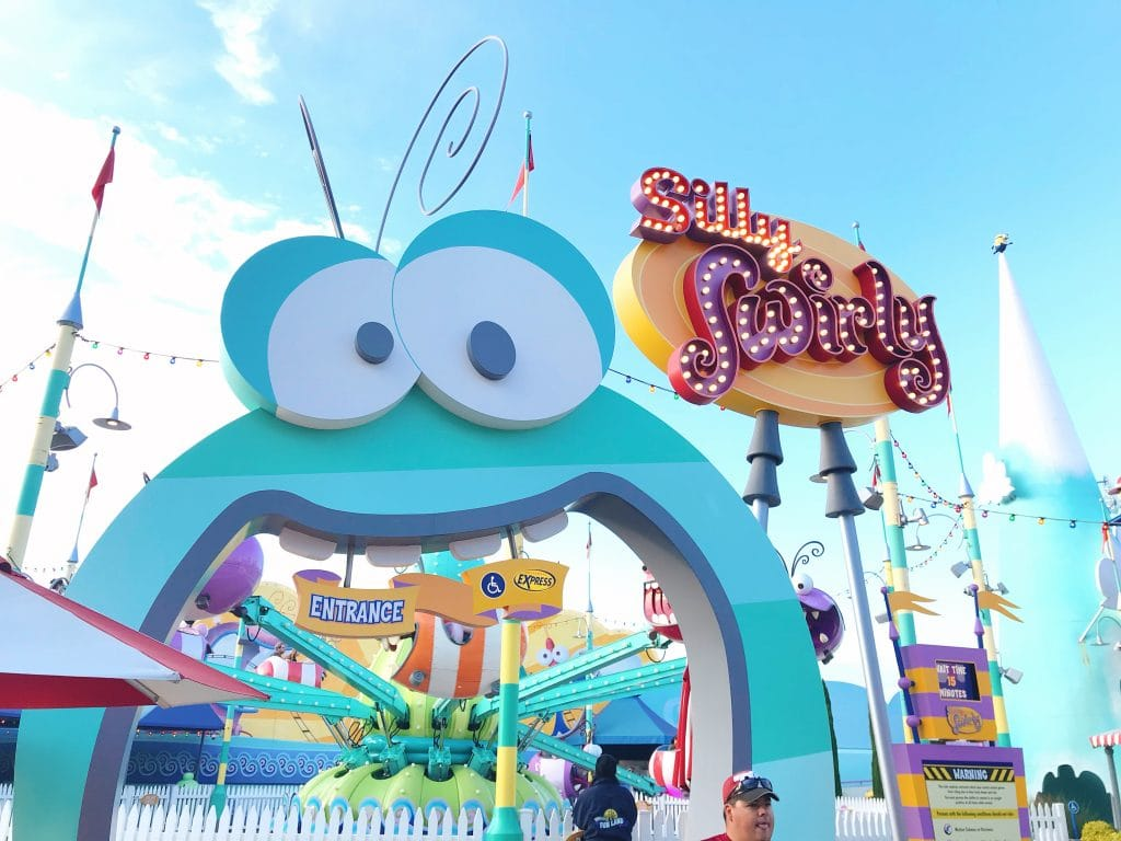 The entrance sign for Silly Swirly ride at Universal Studios Hollywood.