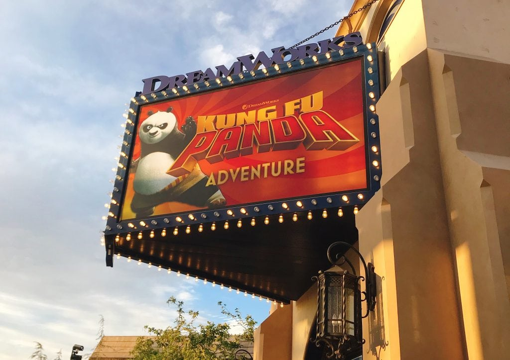 Entrance sign for Kung Fu Panda Adventure at Universal Studios Hollywood.