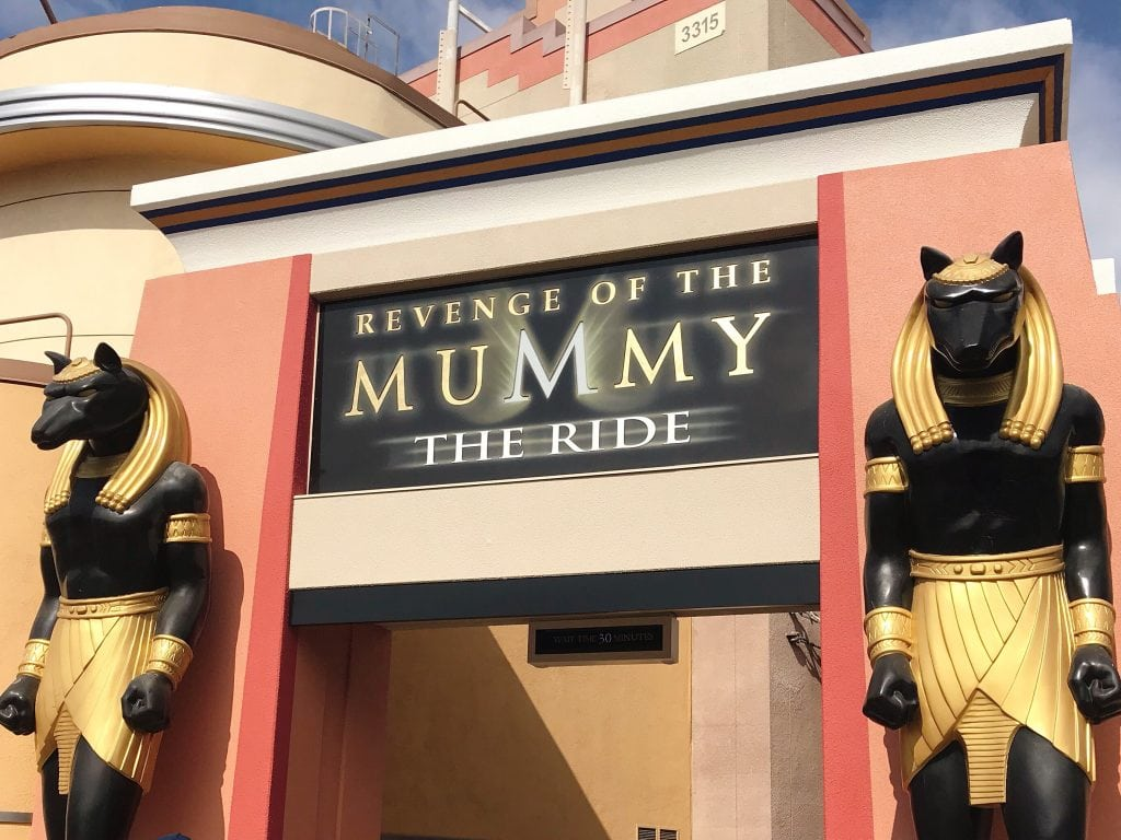 """A sign at the entrance to the """"Revenge of the Mummy The Ride"""" at Universal Studios Hollywood."""