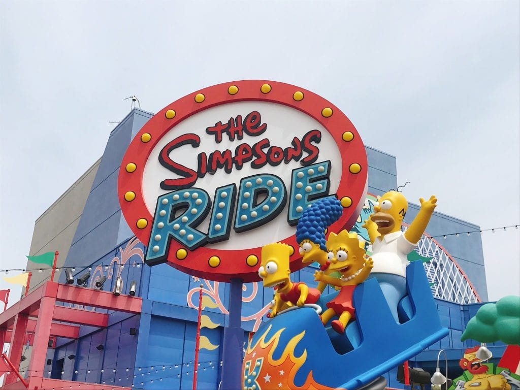 A sign for The Simpsons Ride at Universal Studios Hollywood