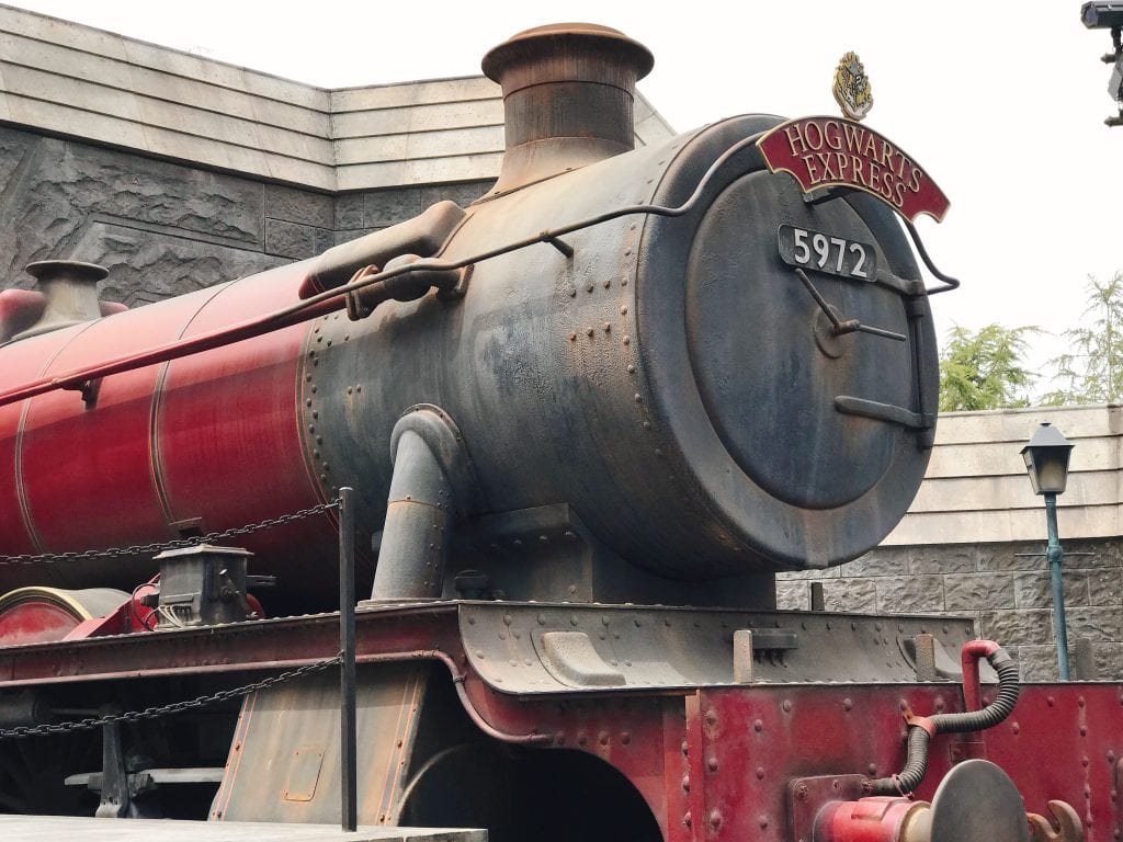 A front view of the Hogwarts Express train at the Wizarding World of Harry Potter at Universal Studios Hollywood.
