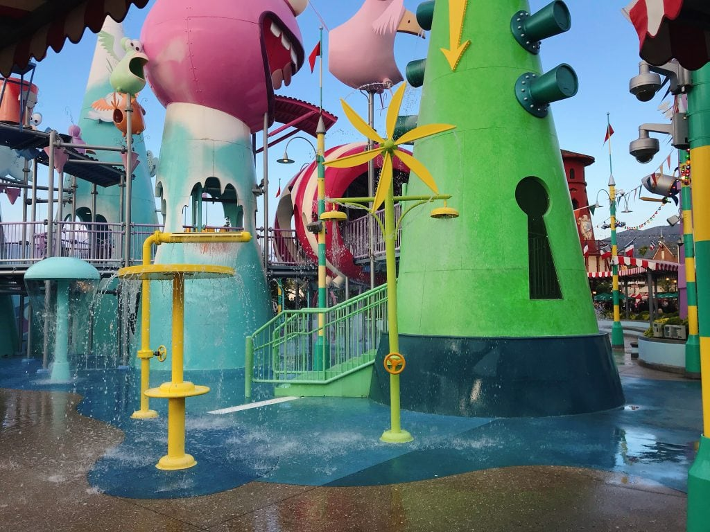 Water play area in Super Silly Fun Land at Universal Studios Hollywood.