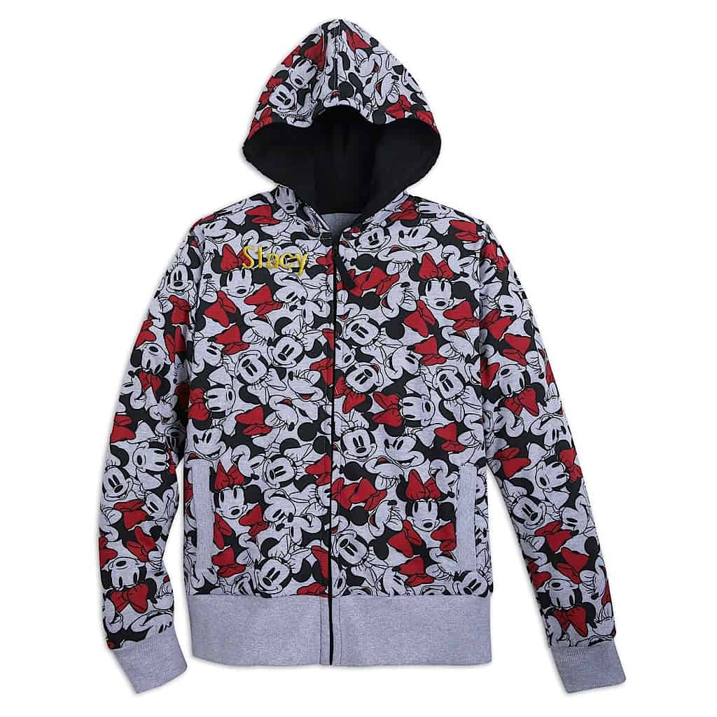 A sweatshirt with a Minnie Mouse Pattern.