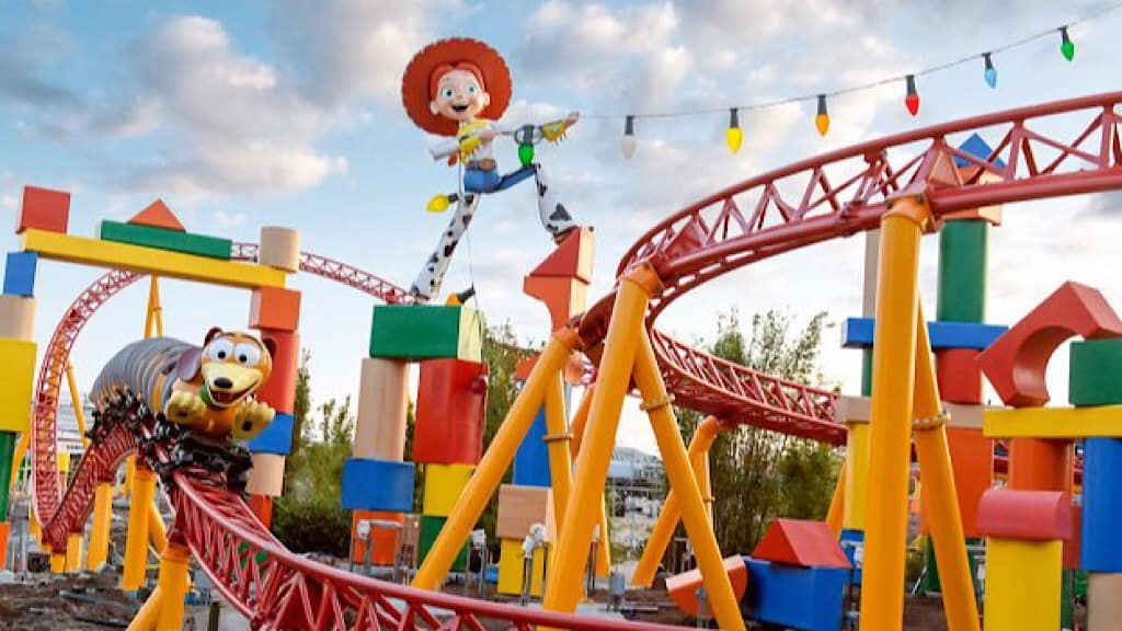 A toy-like roller coaster at Disney World called Slinky Dog Dash.
