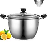 Stockpot, ONEISALL 8 Quart Stock Pot Thicker Stainless Steel Large Pot with Lid, Anti-Scalding Safety Handle and Fast Heating for Induction Cooktop, Gas Stoves, Oven