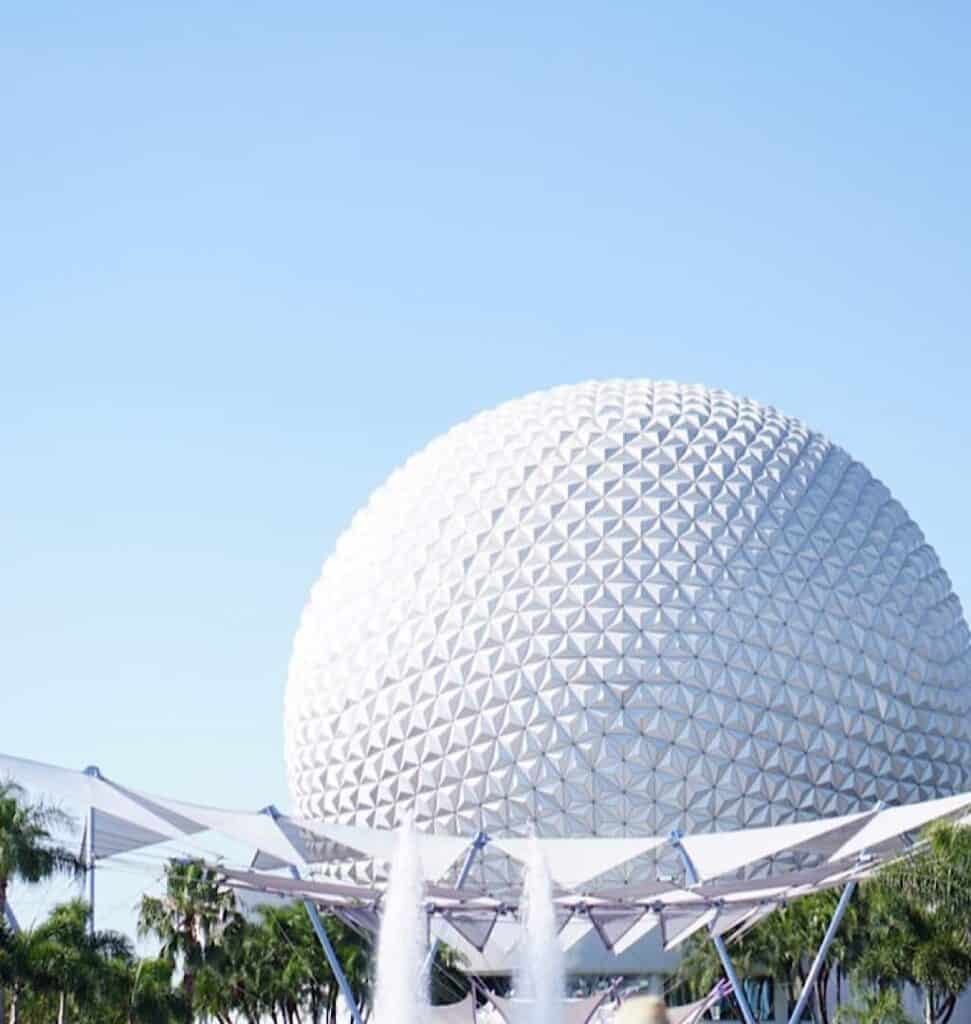 A view of Spaceship Earth at EPCOT in Walt Disney World
