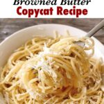"""Text """"the old spaghetti factory Mizithra Cheese & Browned Butter Copycat Recipe"""" over a picture of a fork holding spaghetti."""
