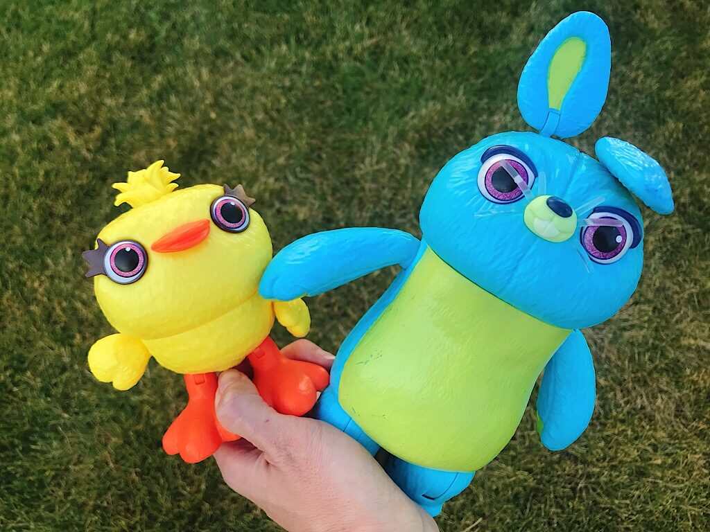 Toys of the characters Ducky and Bunny from the movie Toy Story 4