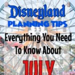 """Text """"Disneyland Planning Tips Everything You Need To Know About July"""" Over a picture of the Ferris wheel at Disneyland"""