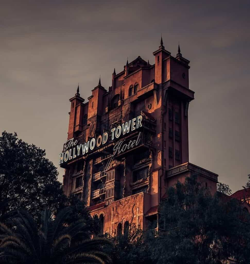 A view of the Hollywood Tower Hotel at Disney Hollywood Studios at Walt Disney World