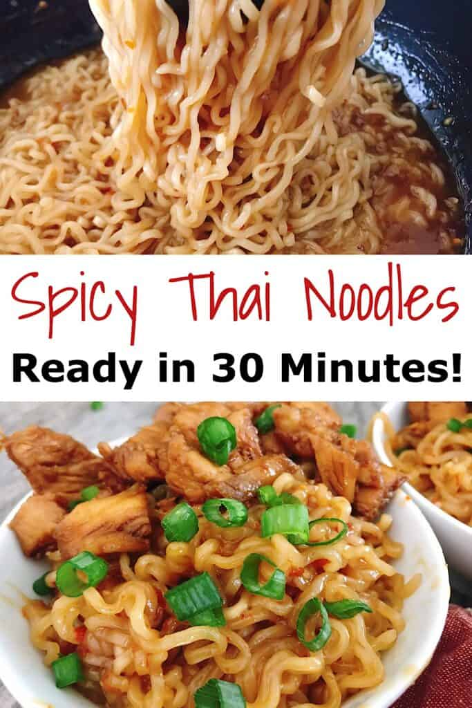 "A pasta fork holding noodles, Text ""Spicy Thai Noodles Ready in 30 Minutes"", a bowl of noodles and chicken."