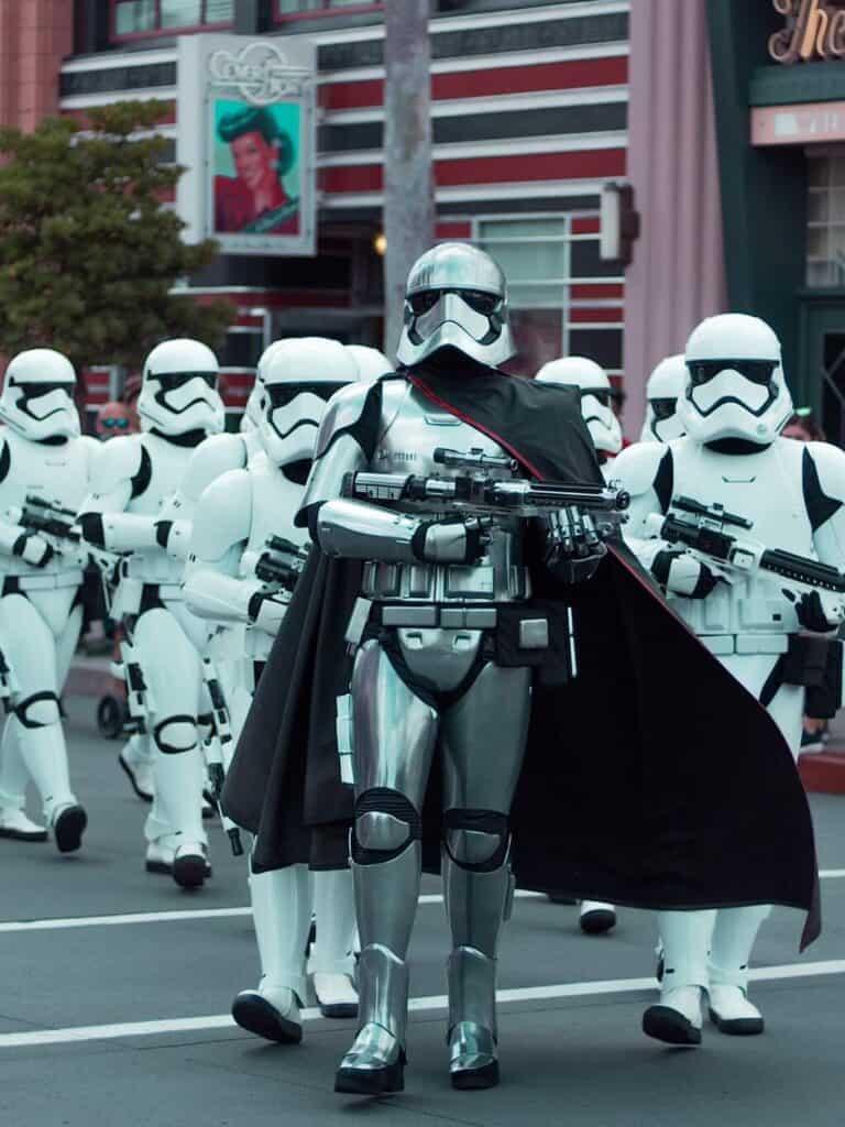 Storm Troopers walking down a street at Disney Hollywood Studios at Disney World.
