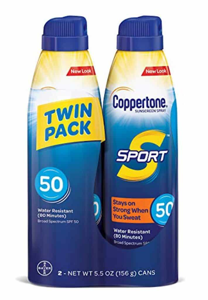 Two bottles of Coppertone Spray Sunblock