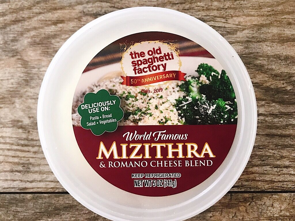 A tub of Mizithra cheese.