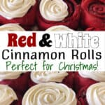 Red Velvet Cake Mix Cinnamon Rolls with Cream Cheese Frosting Pinterest Image