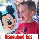 """A boy with Mickey Mouse cotton candy and text overlay """"Disneyland Tips"""""""