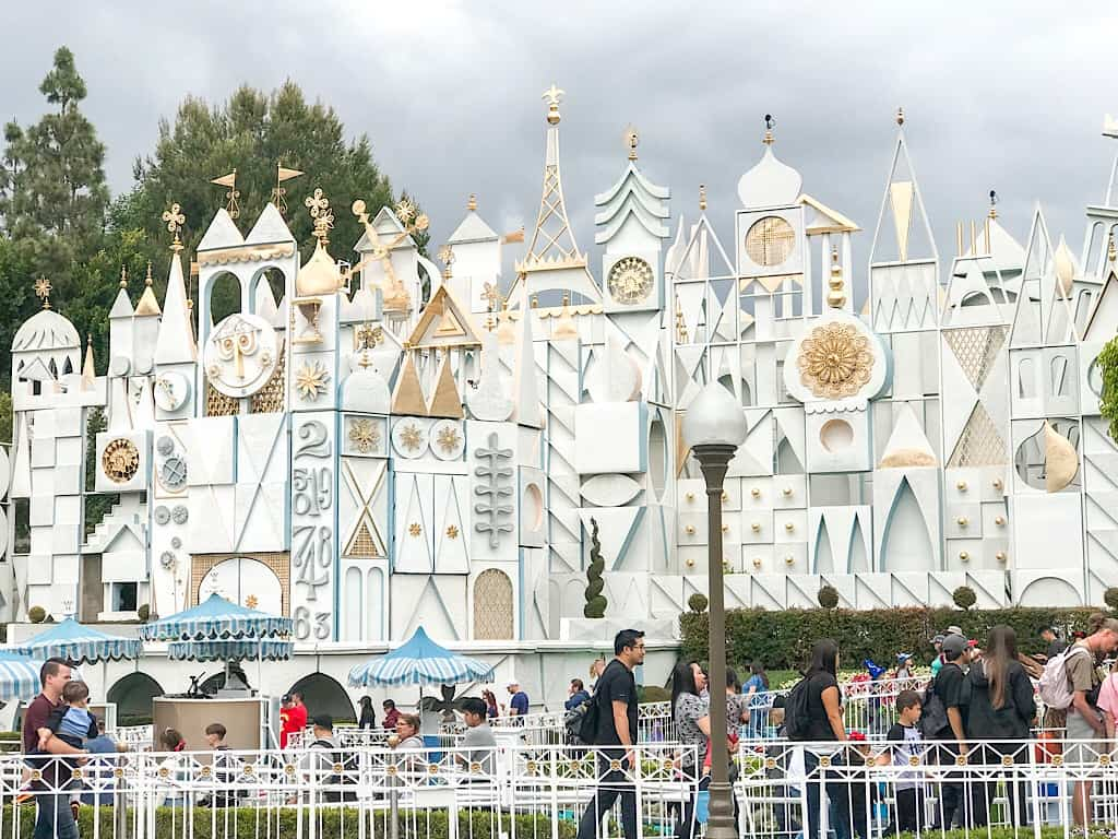"The facade of ""it's a small world"" at Disneyland park in Anaheim California."