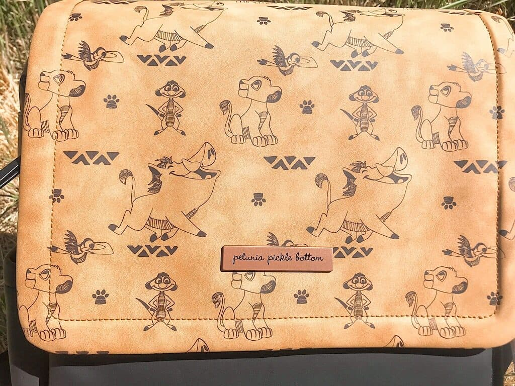 A close up of Petunia Picklebottom's Boxy Backpack with Disney's Lion King print.