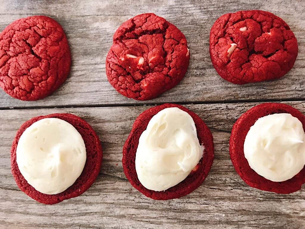 Red Velvet cake mix cookies with cream cheese frosting.