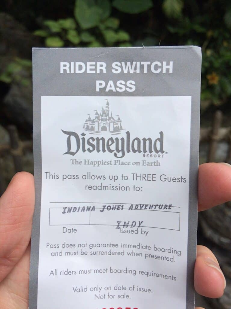 Rider Switch Pass from Disneyland