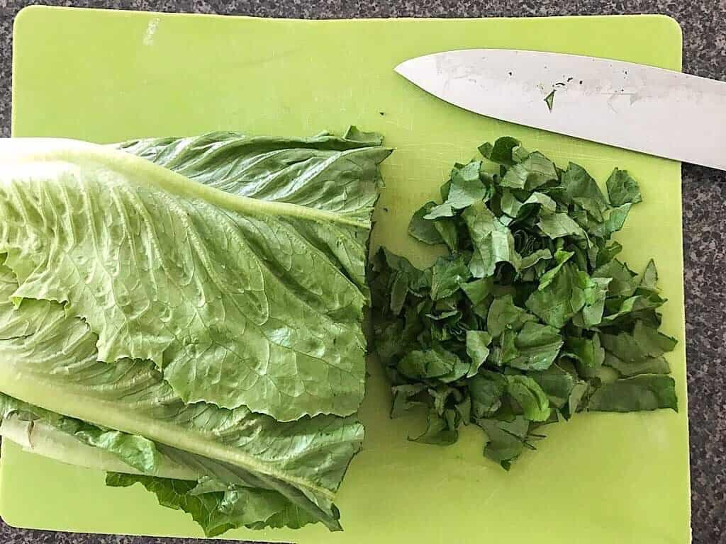 Chopped romaine lettuce for a Big Mac bowl