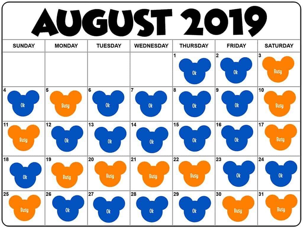 Disneyland Crowd Calendar August 2019