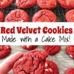 Red Velvet Cookies Make with a Cake Mix