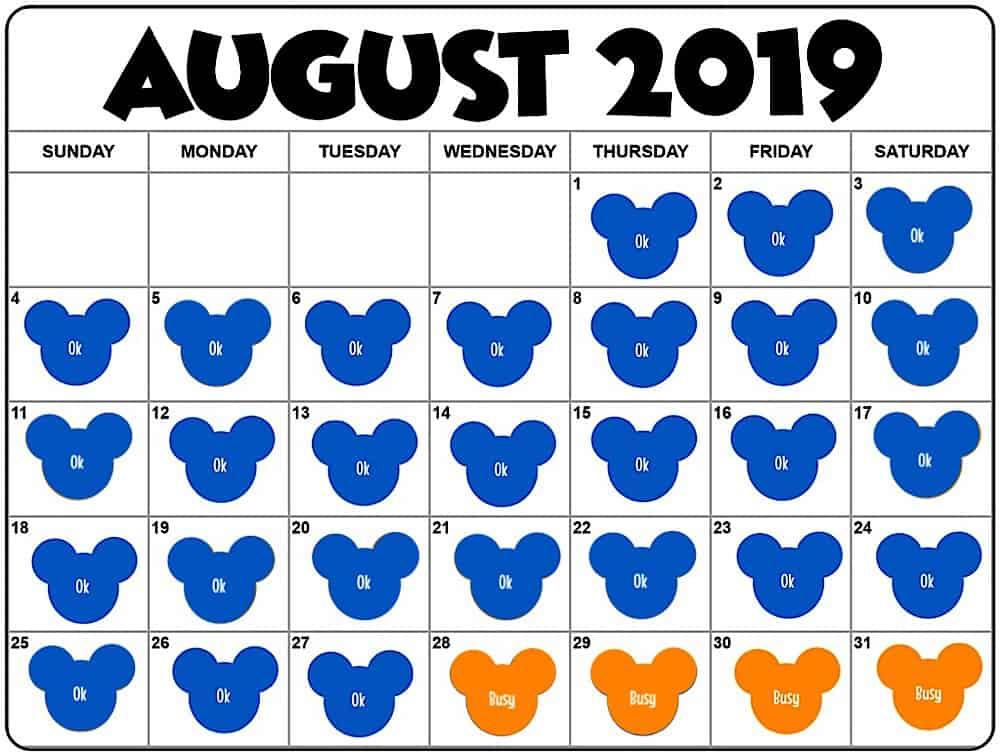Disney World August Crowd Calendar