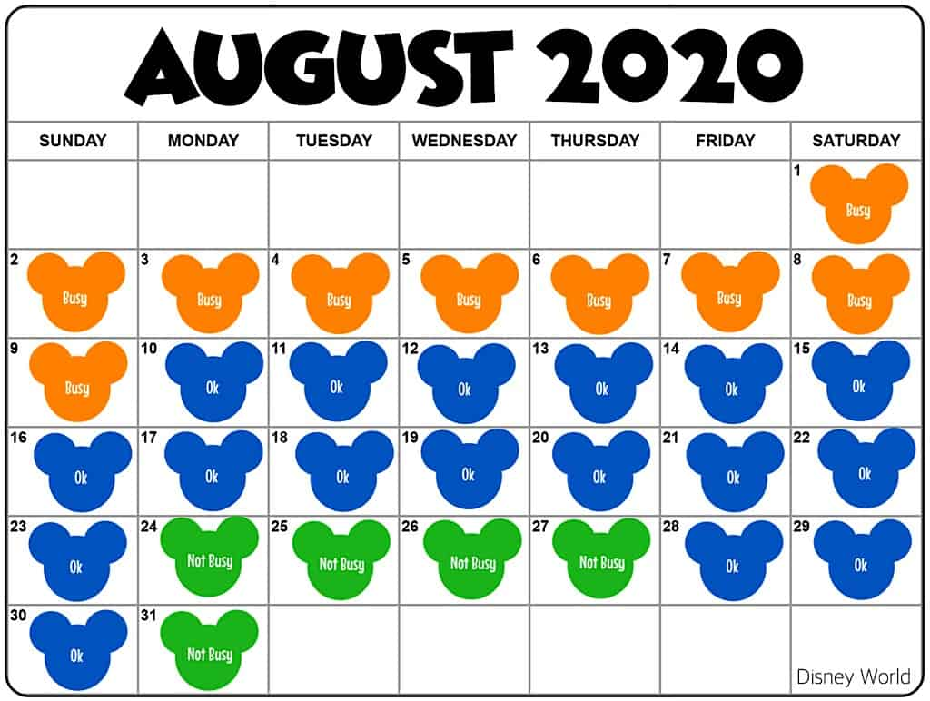 Disney World Crowd Calendar August 2020