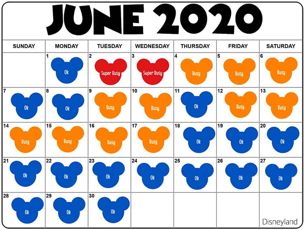 Disneyland Crowd Calendar June 2020