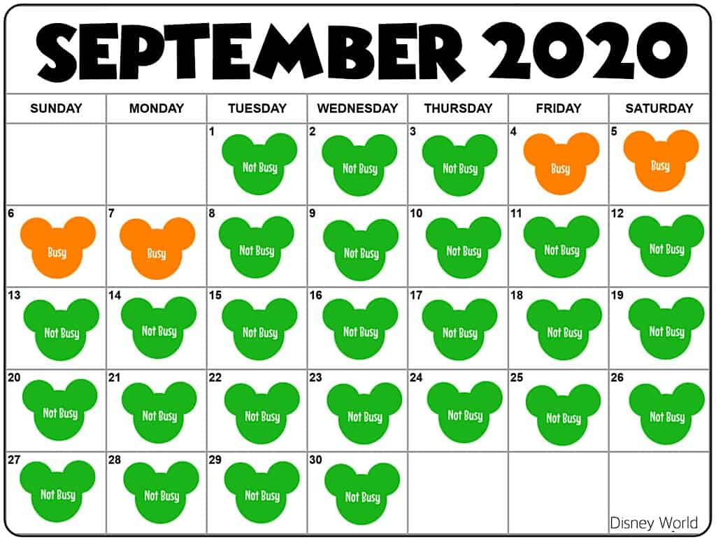 Disney World September 2020 Crowd Calendar