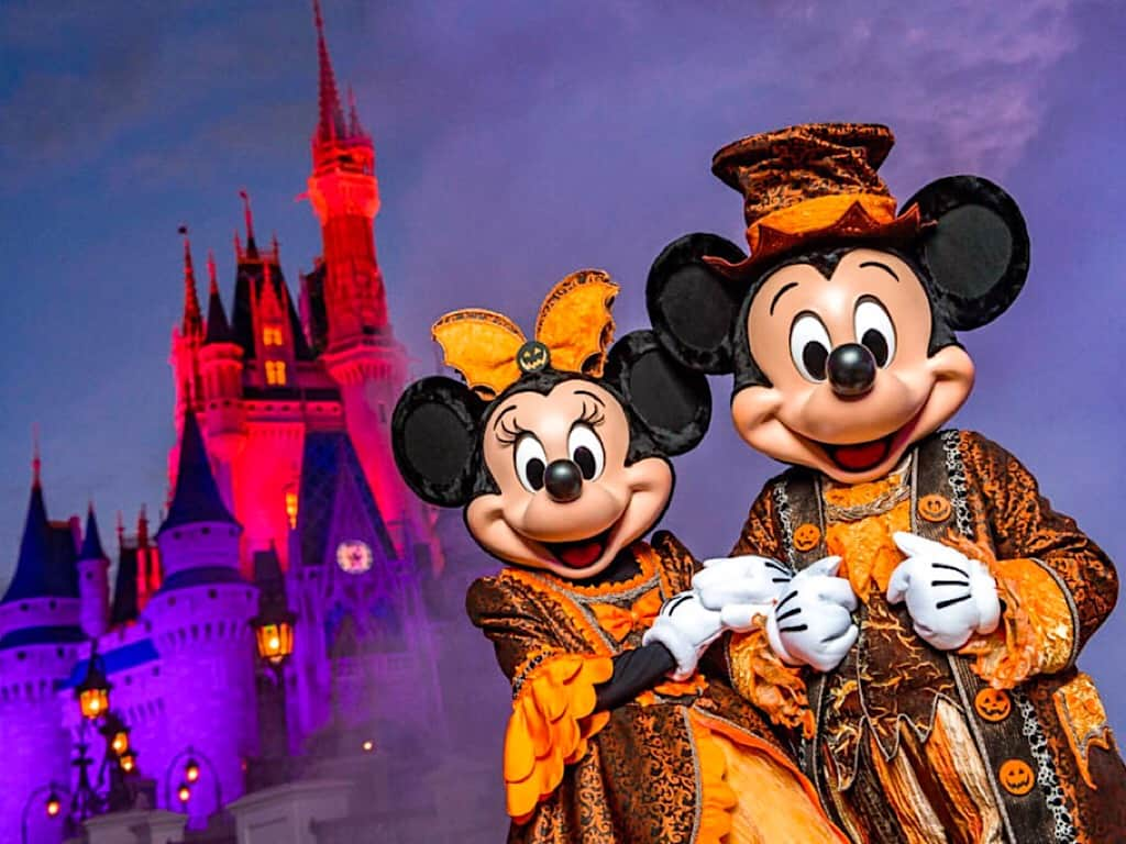 Mickey and Minnie dressed up for Halloween at Disney World in October