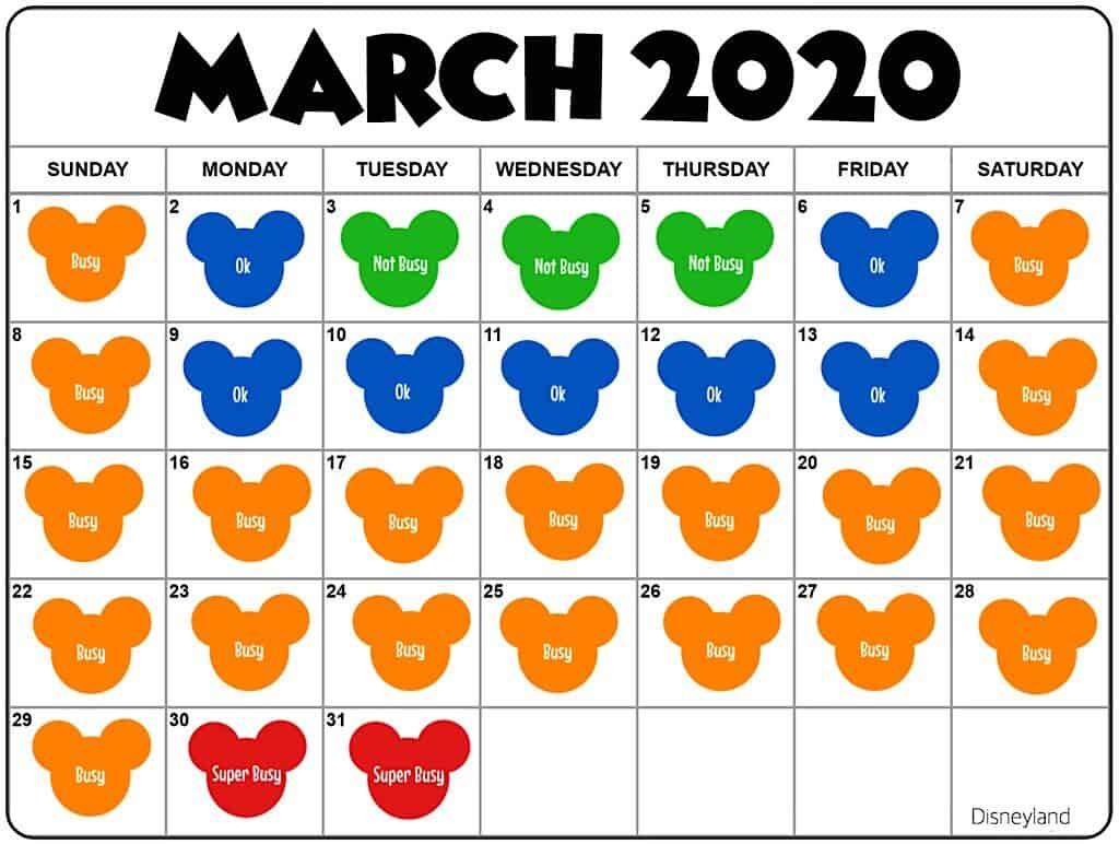 March Disneyland Crowd Calendar