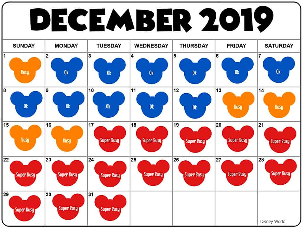Disney World December Crowd Calendar