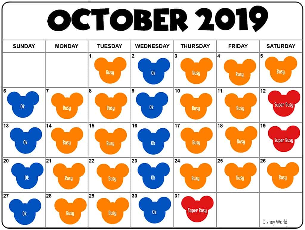 Disney World in October Crowd Calendar