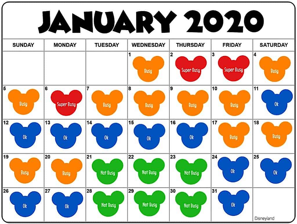 Crowd Calendar for Disneyland in January 2020