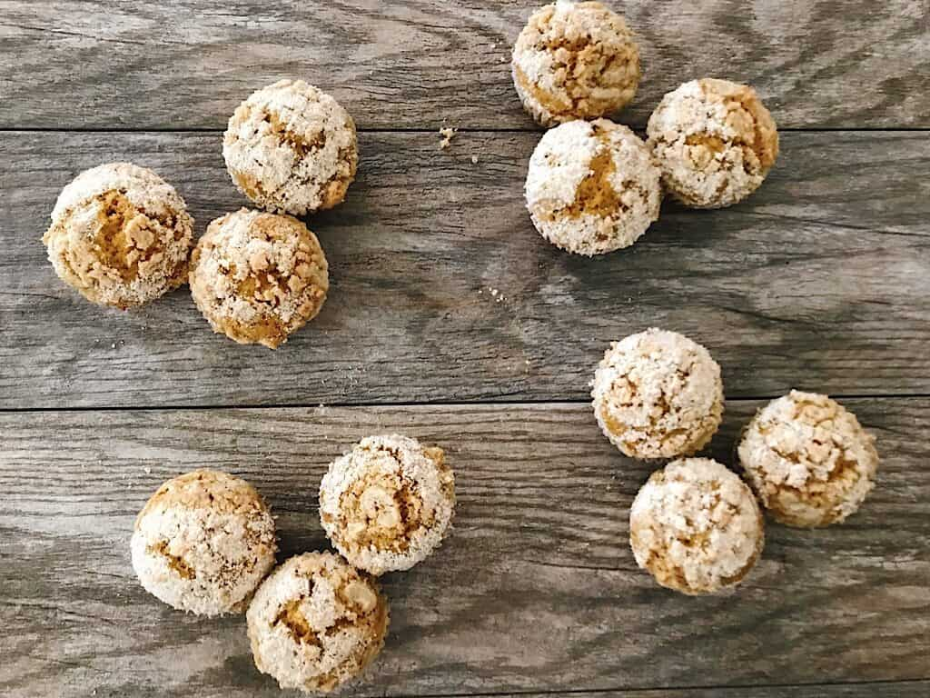 A dozen streusel pumpkin muffins