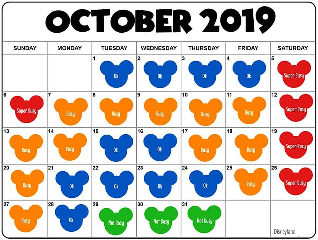 Disneyland Crowd Calendar for October 2019