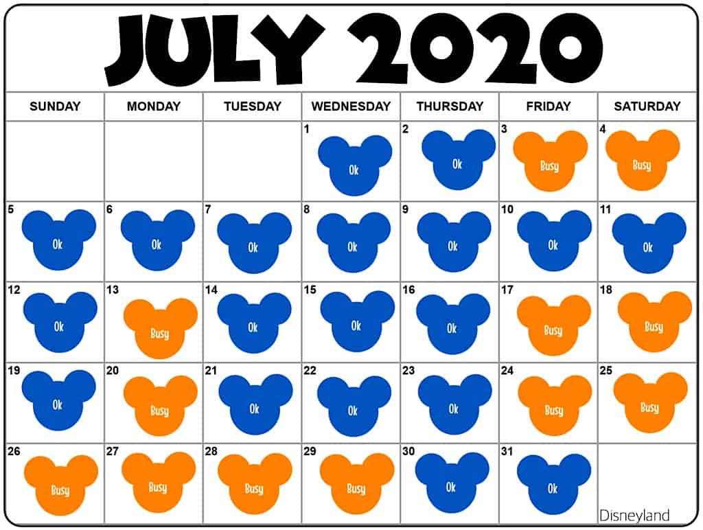 July 2020 Disneyland Crowd Calendar and Attendance Chart