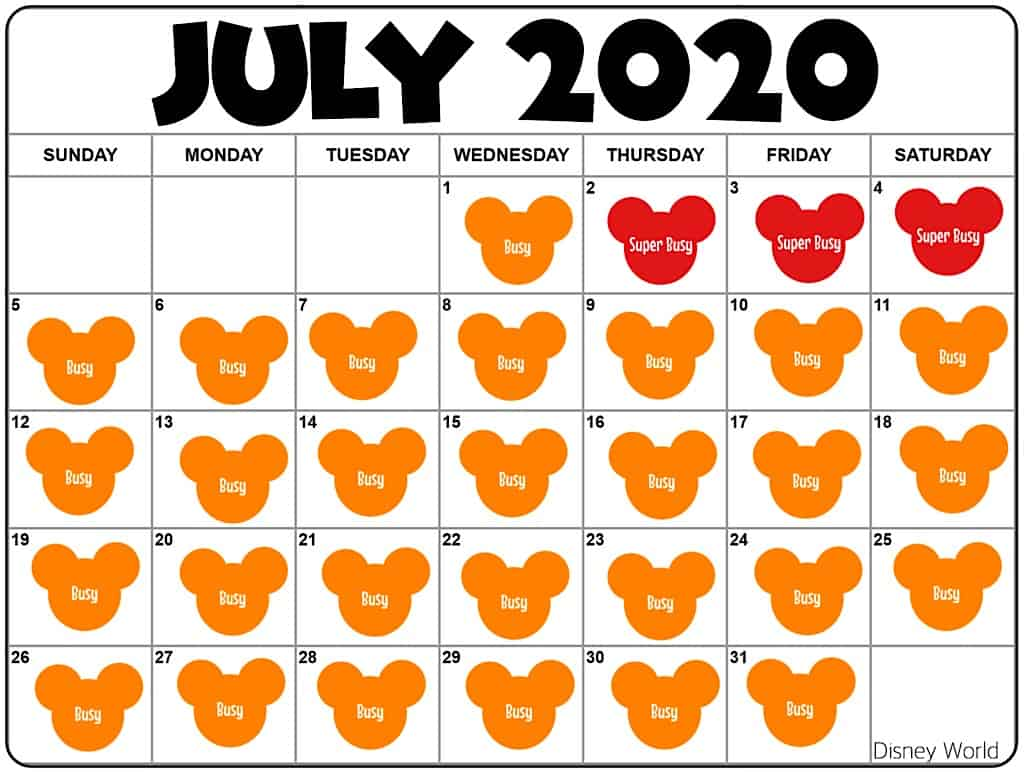 Disney World July 2020 Crowd Calendar
