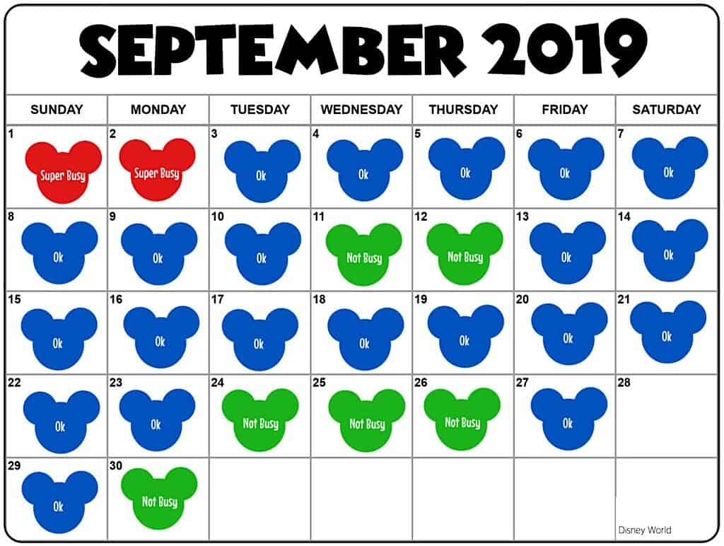 Disney World in September Crowd Calendar