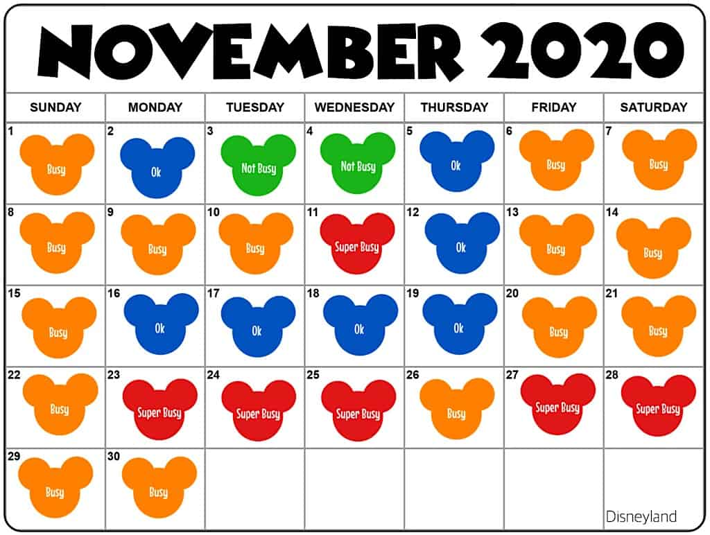 November2020 Disneyland Crowd Calendar and Attendance Chart