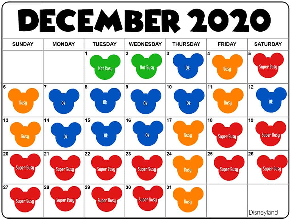 December2020 Disneyland Crowd Calendar and Attendance Chart