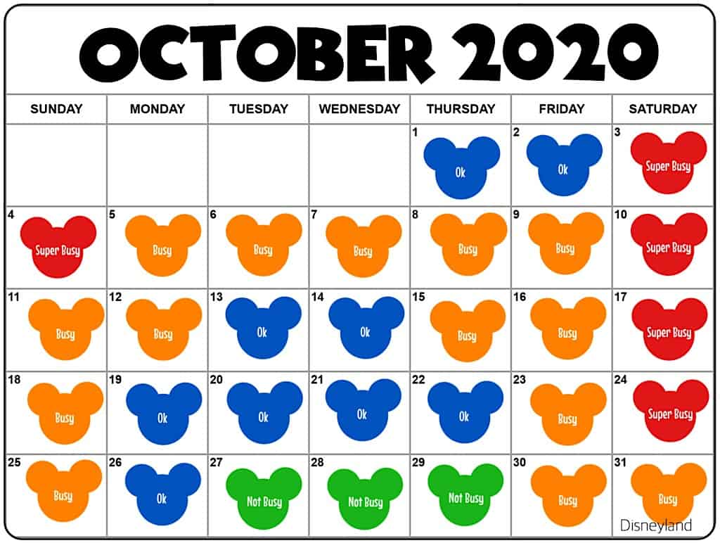 October2020 Disneyland Crowd Calendar and Attendance Chart