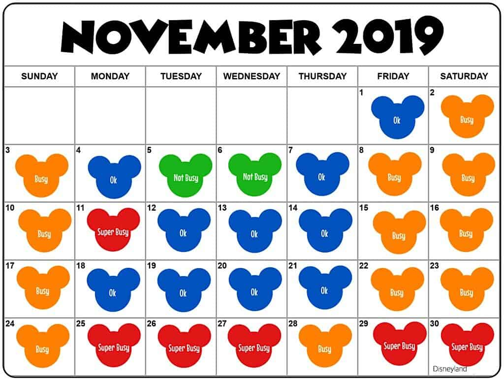November 2019 Disneyland Crowd Calendar